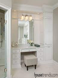 Bathroom Storage Cabinet Keeps Things Neat And Tidy Bathroom With Makeup Vanity Master Bathroom Vanity Built In Vanity