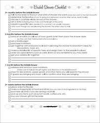 Printable Bridal Shower Gift List Template Bridal Shower To Do List Templates Free Word Pdf Format