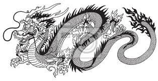 Fototapeta čínský Drak černé A Bílé Tetování