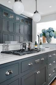 White Grey Blue Backsplash And Kitchen Cabinets With Gray Brick Tile