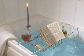bath caddy with wine glass candle book holder