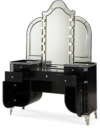 aico hollywood s upholstered vanity and mirror black iguana