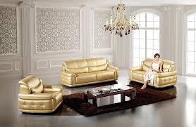 modern 3pcs gold leather sofa set