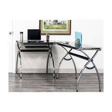 black l shaped corner desk with tempered glass top and pull out keyboard tray