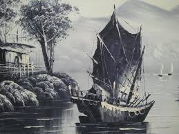 painting oil paint on canvas landscape with chinese junk signed s h nin asia 2nd half 2 th century