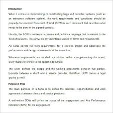 Work Statement Examples Sample Statement Of Work Template 13 Free Documents Download In
