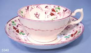 antique hand painted pink sunderland re vintage porcelain tea cup and saucer