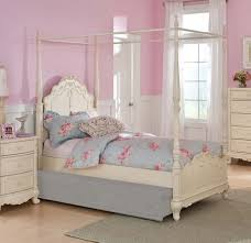 Home Elegance Cinderella Off White Twin Canopy Poster Bed