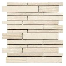 beige cream natural stone mosaic tile living room glasarble linear sheet soft harmony feathers