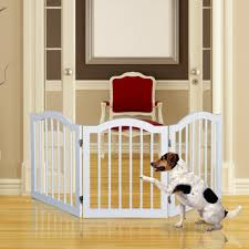 pawhut wooden dog gate stepover panel pet fence folding safety barrier white 3