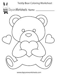 Small Picture Free Preschool Teddy Bear Coloring Worksheet