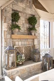 stone fireplace with above mantle inset