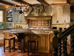 french country kitchen design with oil rubbed bronze chandelier over round pedestal dining table and