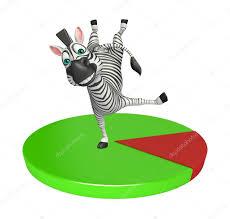 Cute Zebra Cartoon Character With Pie Chart Stock Photo