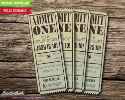 Invitation Ticket Template Editable Vintage Movie Ticket Invitation Digital File 24