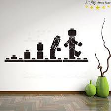 good quality new art design blocks home decor vinyl wall decals removable cartoon robot toy canada robot wall decals