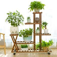 wooden plant flower pot stand shelf