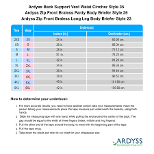Sizing Chart For Ardyss Back Support Vest Waist Cincher