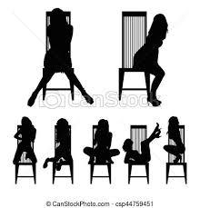 セット シルエット イラスト 様々 女の子 ポーズを取る 椅子