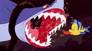 Image result for the little mermaid 1989 flounder and shark