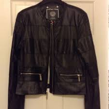 details about vince camuto faux leather jacket size l