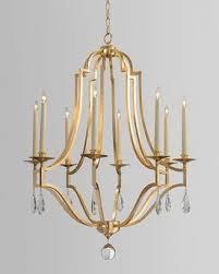 john richard collection gold leaf crystal 8 light chandelier