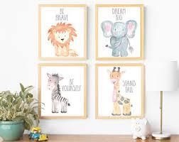 Safari Nursery Wall Art Animal Paintings Baby Animal Prints Animal  Watercolor Childrens Wall Art Decor Kids