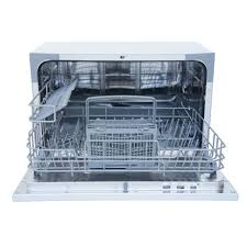 spt countertop dishwasher in white with delay start and 6 place settings capacity