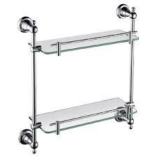 heritage holborn double glass shelf chrome