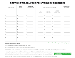 Debt Snowball Excel Spreadsheet Debt Snowball And Free Printable Worksheet Earn Money Blogging