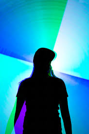 The Blue Light Story Silhouette Of Woman Against Bright Blue Light By Pixel