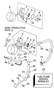 Evinrude fuel pump electric start models parts for 1990 99hp