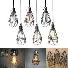 brushed nickel wire industrial cage pendant light shade whole retro vintage lamp covers trouble