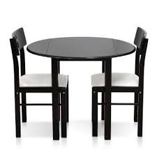 cos drop leaf 3 piece espresso solid wood dining set