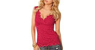 Unko <b>Women's Lace</b> Tops Sexy Deep V Neck <b>Sleeveless</b> Shirts ...