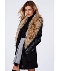gallery 32 lyst missguided orla faux fur leather biker sleeve coat black