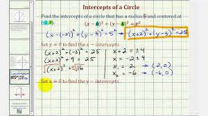 ex find the intercepts of a circle not centered at the origin