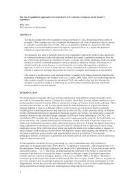 Research Design Qualitative Example Pdf The Role Of Qualitative Approaches To Research In Call