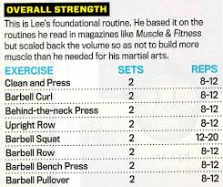 Gym Workout Sheet Amazing Bruce Lee Workout Secrets Revealed Pop Workouts