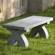 campania international the x cast stone backless garden bench hayneedle