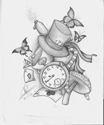 alice in wonderland tattoo idea like the concept not necessarily all the chosen items