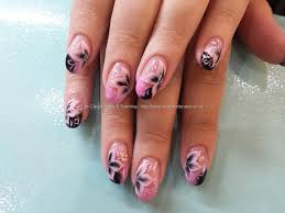 Pink and black gel polish with one stroke flower nail art Taken at ...
