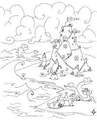 Small Picture coloring page sea creatures building a sand castle on the beach