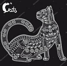 Kočka Dekorativní Vzor Tetování Nebo Vzorník Stock Vektor Tigra