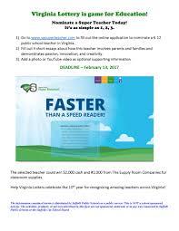 posts acirc staff portal virginia lottery super teacher program