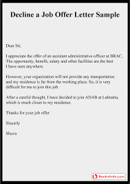 decline a job offer letter sample