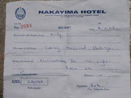 Hotel Receipt Nakayima Hotel Receipt Uganda Photo