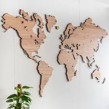 wooden world map wall art bamboo
