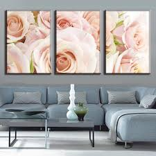 3 pcs set combined framed flower wall art modern light pink roses canvas prints painting for bedroom decor in painting calligraphy from home garden on  on pink rose canvas wall art with 3 pcs set combined framed flower wall art modern light pink roses