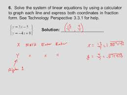 8 6 solve the system of linear equations by using a calculator to graph
